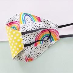 Fabric face mask - Rainbows / Yellow dots