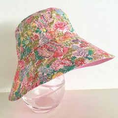 Girls summer hat in cottage garden floral fabric