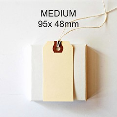 MEDIUM Shipping Tags {50} 95x 48mm  Strung Manila | Vintage Style Shipping Tags