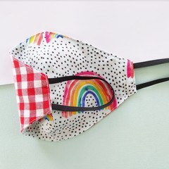 Fabric face mask - Rainbows / Red gingham