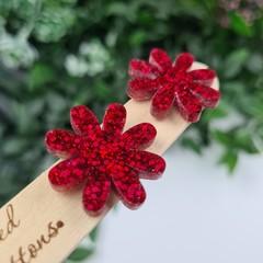 Red Sparkle Flower Power Glitter Resin Button Stud Earrings