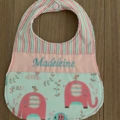 Personalised decorative feeding bib, elephant print, baby shower gift,