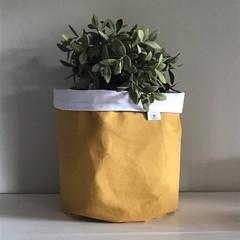 Extra large round fabric planter | Storage basket | Pot cover | MUSTARD