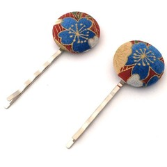 Red and Blue Fabric Button Bobby Pin, Hair Pin for Woman, Hair Clips for Ladies