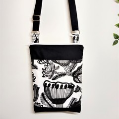 Black and White Cross Body Tote