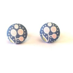 Small Fabric Button Earrings - Pink and Blue