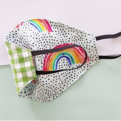 Fabric face mask - Rainbows / Green gingham