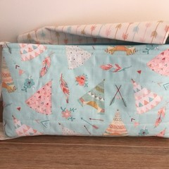 Dolls Nappy bag set, indian teepees print, girls gift,
