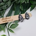 Spotted Black and White Teardrop (small) Stud earrings - Handcrafted earrings