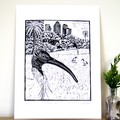 Australian White Ibis Lino Cut Print / Australian Bird / Original Artwork