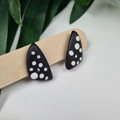 Spotted Black and White Sails (small) Stud earrings - Handcrafted earrings