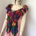 recycled silk chiffon rainbow boho chic tattered long boa by plumfish