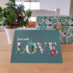 Love -  A6 Greeting Card - Green Background
