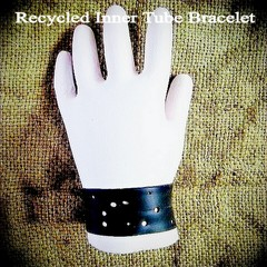 Recycled Inner Tube Bracelet/Cuff. Bikers Gift.