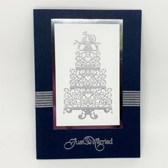 Wedding Card - Navy and Silver