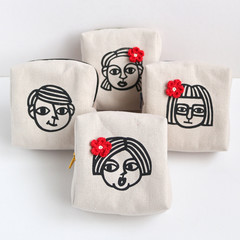Screen Printed People - Cotton Canvas Zipper Box Pouch • W10 x H10 x G4