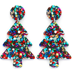 Christmas Tree Statement Earrings - Rainbow Glitter