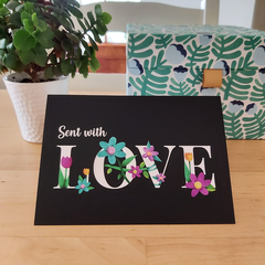Love -  A6 Greeting Card - Black Background