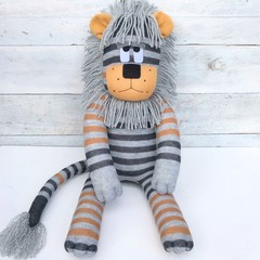 Lawson the Sock Lion - mustard, dark & light grey stripes - *READY TO POST*
