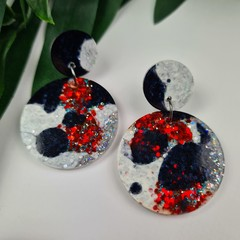Red Black and White Splat Circle - Glittering Drop Resin - earrings