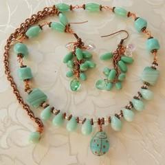 Necklace & Earring set in Blue Czech beads