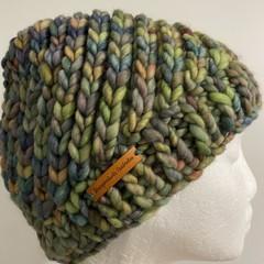 Knitted ladies or men's beanie green blue rainbow swirl merino