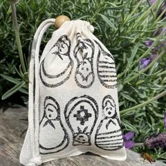 Block printed pouch | Babushka dolls