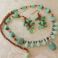 Necklace & Earring set in Blue Czech beads