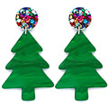 Christmas Tree Statement Earrings - Rainbow Glitter, Green Trees