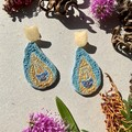 Polymer clay earrings - statement earrings Peacock Feathers