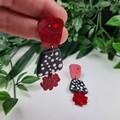 Dotty Flower - Spots and Glitter - Drop Resin - Stud Dangle earrings