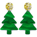 Christmas Tree Statement Earrings - Gold & Silver Glitter, Green Trees