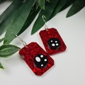 Classic Red Glitter and spotted black  - Rectangle Hook Dangle earrings