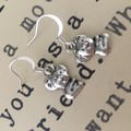 Baby koala earrings silver tone drop
