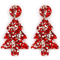 Christmas Tree Statement Earrings - Red & Silver Glitter