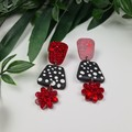 Dotty Flower - Spots and Glitter - Drop Resin - Stud Dangle earrings