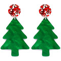 Christmas Tree Statement Earrings - Red & Silver Glitter, Green Trees