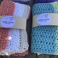 Cotton crochet wash cloths, set of three