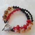 Black - Red & Gold  - Three piece Jewellery Set