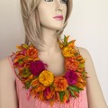 silk rosette, crocheted flower neckpiece