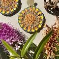 Polymer clay earrings - statement earrings Sunflowers