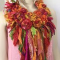 silk flowers, boho necklace, crocheted