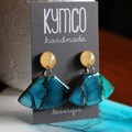 The Shallows Collection -  fan dangle resin art earrings