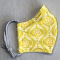Fabric Face Mask - Mustard Flowers (free postage)