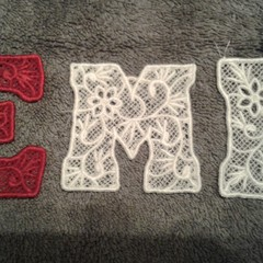Letters &Numbers. Freestanding Embroidered Lace. Fantastic for many craft ideas.