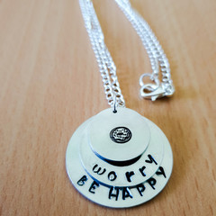 Donut worry be happy Handstamped Necklace, Personalised Necklace, Quoted Necklac