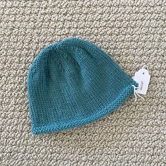 Aqua Newborn Baby Hat - Hand knitted