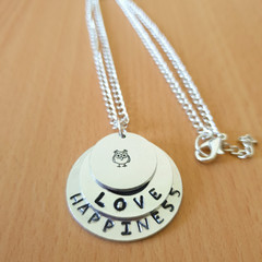 Love Happiness Inspirational Necklace, Personalised Necklace, Handstamped Neckla