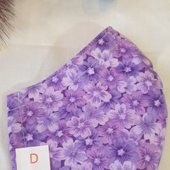 FACE MASK, 3 PLY COTTON LIGHT PURPLE FLOWERS