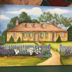 Hand painted canvas featuring heritage homestead